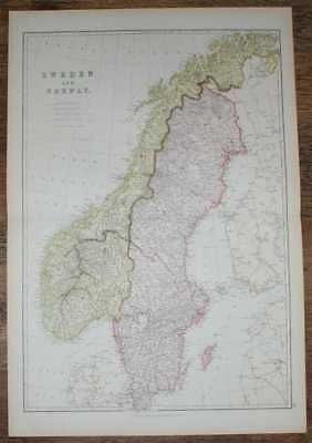1884 Blackie's Map of Sweden and Norway