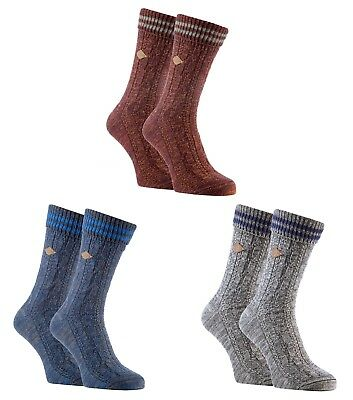 autumn shoes official shop huge inventory FARAH - 2 Pairs Mens Thick Cotton Chunky Cable Knit Winter ...