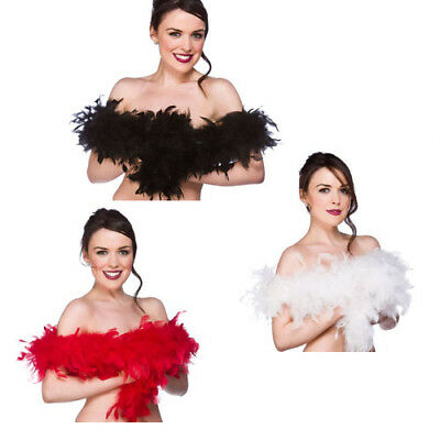 Deluxe Quality Feather Boas 20s Charlston Fancy Dress 60gm 1.7m Black White Red