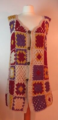 Vintage 1960s fab wool hand-crocheted multi-coloured patchwork gilet, size 14