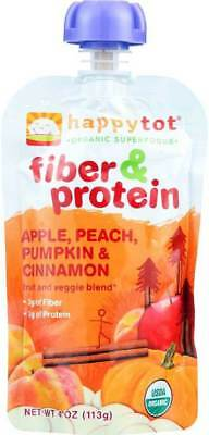 Happy Tot Toddler Food Organic Fiber And Protein APPLE,PEACH,PUMPKIN. (16PK)