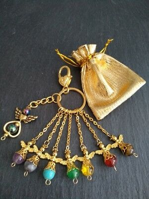 CHAKRA Healing Crystal Gemstone Angel Charm Protection Gold from £1.99