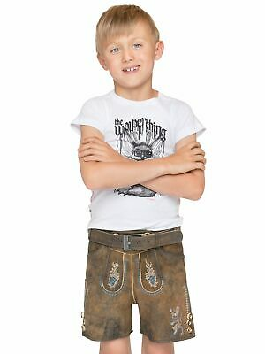Stockerpoint Traditional Costume Children Leather Pants with Belt short Bavaria