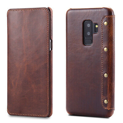 For Samsung Galaxy S9/S9+ Plus Genuine Leather Slim Flip Wallet Card Case Cover