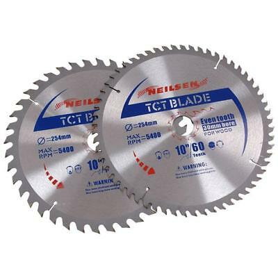 "2 Piece 10"" 254mm 40+60 Tooth 30mm Bore TCT Circular Saw Cut Blade (CT2521)"