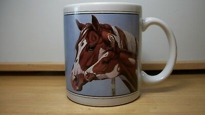 AMERICAN PAINT HORSE COFFEE MUG Mare with Foal~1994~EUC