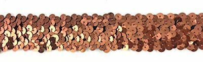 TRIMPLACE Brown 1-1/4 Inch Stretch Sequin - 3 Row- 10 Yards