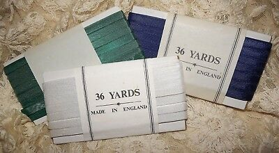 "3 Packs of 36 yd BOLTS of Antique Vintage WHITE GREEN & BLUE  RIBBON Trim 1/4""w"