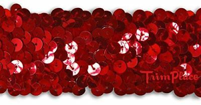 TRIMPLACE RED 1-1/2 INCH STRETCH SEQUIN 12 Yards