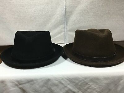 Brand NEW men's  Stetson Prof Hat with Logo Pin Brown and Black 100% Wool