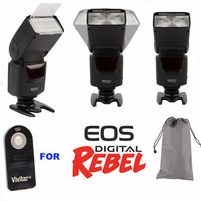 Zoom Led Flash +Remote For Canon Eos Rebel T3I T5I T6I T7I 1300D 1200D Xti Sl1