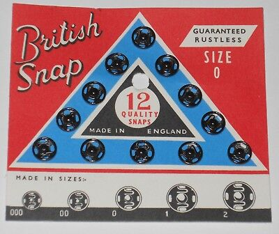 Size #0 ~ Antique Vintage British black Snaps Fasteners Sewing Notions #4101