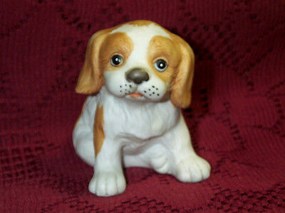 "Vintage Springer Spaniel Homco Puppy Dog Figurine Tan & White Porcelain 3"" Tall"
