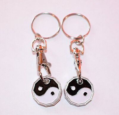 High Quality Pound Coin 2 Pack Ying & Yang Designer  Shopping Trolley KeyRing