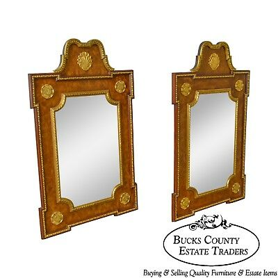 Friedman Brothers French Louis XV Style Burl Wood & Gilt Pair of Large Mirrors