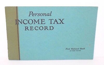 First National Bank of Fort Wayne Indiana Personal Income Tax Record (1923) SC