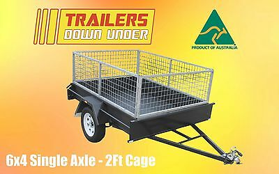 6x4 Light Duty Box Trailer with 2ft Galvanised Cage New Rims & Tyres - Brisbane