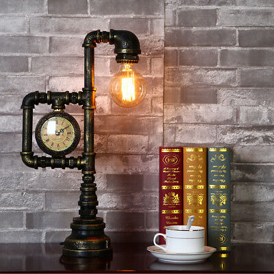 Vintage Industrial Iron Pipe Desk Lamp Barn Edison Table Accent Light with Clock