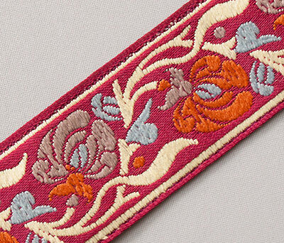 """Pale Rose /& Shades of Pink On Jacquard Sewing Trim Art Nouvea 3 yards 1¼ /"""" wide"""