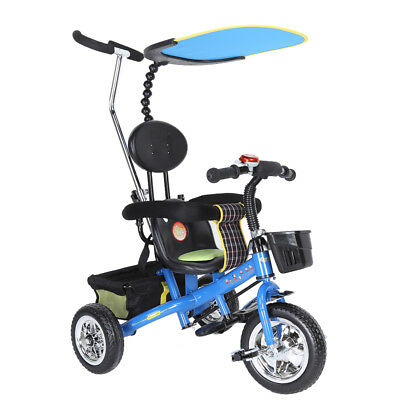 3 in 1 Trike Kid Tricycle for Toddler Adjustable Seat Stroller Ride On Blue