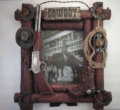 Western Cowboy Hat Rifle Boot Horseshoe Wood 8 x 10 Picture Frame Rustic Decor