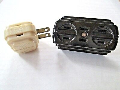 Two Art Deco Bakelite Eagle Triple 3 Outlet Plug Adapters
