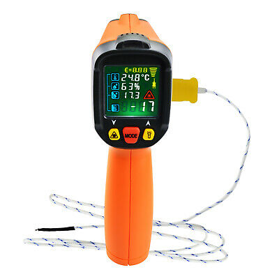 Infrared IR Laser Thermometer Humidity, Surface Temperature UV Light Leak Detect