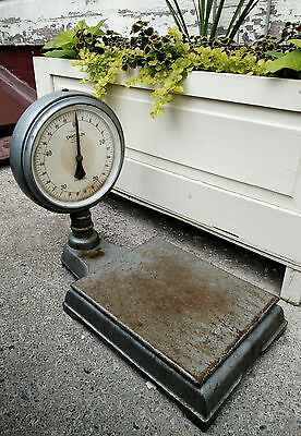 Rare Antique Chatillon Cast Iron Bench top 2 sided 50 LB Weighing Scale TYPE-870