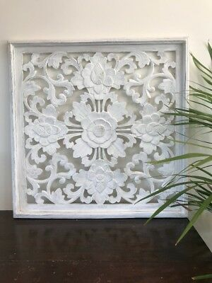 Large White Wood Carving, Wall Art, Wall Plaque, Wall Hanging, Carved Panel