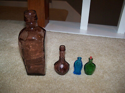 4 Vintage Elixir Bottles Straub -Hullers, Ball & Claw Bitters Made In Taiwan
