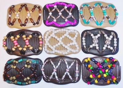"""Double Hair Combs, Angel Wings Clips 4x3.5"""", African Butterfly Style,Quality S97"""
