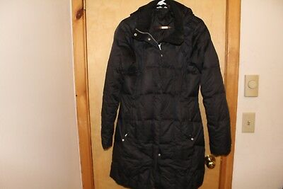 Women's black puffer long coat Eddie Bauer goose down with hood good