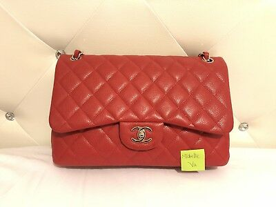 2a44cce832b3 Authentic Chanel Classic Double Flap Jumbo Caviar Red Purse Made in Italy