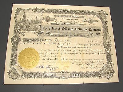 1918 The Mascot Oil And Refining Company Colorado Stock Certificate Vintage