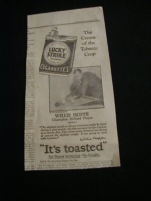 RARE 1928 lucky strike cigarette newspaper ad pool player willie hoppe