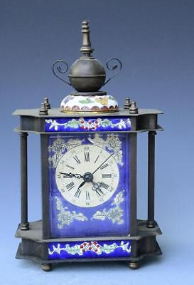 Collection brass cloisonne retro western mechanical alarm clock