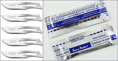 5 x Steel #No 10 Swann-Morton Sealed Non Sterile Scalpel Blades For Handle #3 5