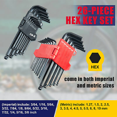 26-pc. ALLEN BALL END LONG ARM HEX KEY WRENCH SET Inch/Metric with Star Key Set