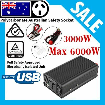 3000W (6000W Max) 12V-240V Modified Sine Wave Car Power Inverter W/ USB Port US