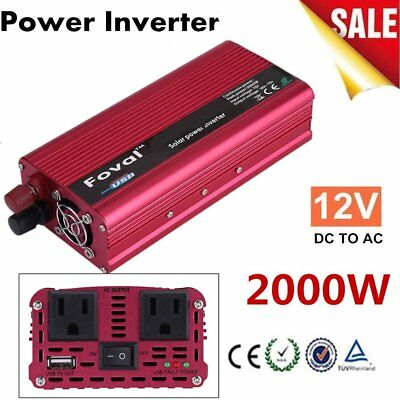 Car Power Inverter 2000W 12V DC 110V AC Converter USB Battery Charger US Plug CC