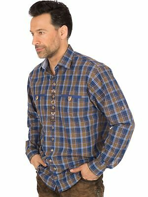 Os-Trachten Traditional Shirt Roll-Up Sleeves 32000-3609 Blue Brown