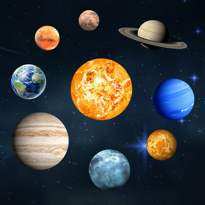 Glow In The Dark SOLAR SYSTEM Wall Stickers 9Planet Decal Kids Room Decorations