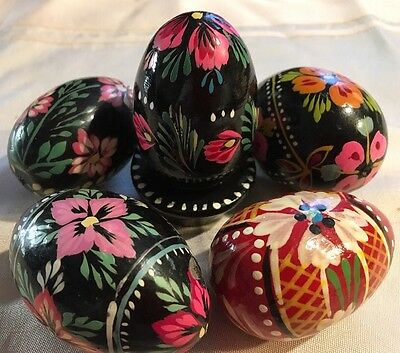 Ukrainian Polish 5 Wooden Easter EGGS HAND Painted Pysanka Pisanka*