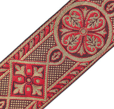 """Red & Gold  Jacquard Chasuble Medieval Chiurch Vestment Trim 2 3/8""""  DIY 3 Yards"""