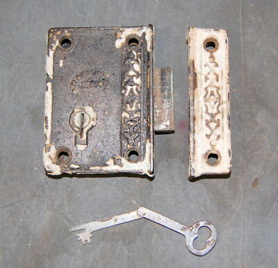 Original Antique Norwalk Lock Co. Rim Lock w/ Folding Key, Vintage Door Hardware
