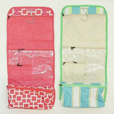 Travel Toiletry Hanging Organizer Makeup Pouch Print Cosmetic Folding Roll Bag