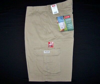 ddc77f0ac9 Wrangler Men's Khaki Cargo Shorts Relaxed Fit 100% Cotton Flat ALL SIZES  34-48