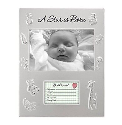 """Malden """"A Star Is Born"""" Baby Birth Announcement Photo Frame Silver Embossed NEW"""