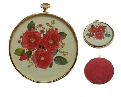 2x Vintage English Rose Floral Antique Georgian style Round Brass Frames
