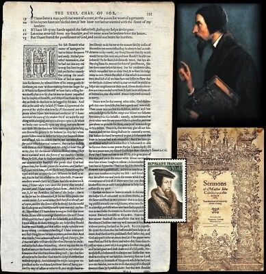 ORIGINAL!! 1584 JOHN CALVIN SERMON 'LEAF' from the Book of Job - (Frame or Gift)